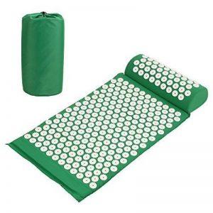 Amzdeal Kit Tapis d'acupression 67x41cm avec Oreiller Portatifs 37x15x10cm et Un Sac en Coton--Vert de la marque Amzdeal image 0 produit