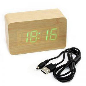 Asueel Châtain Bois Temps alarme de température Lumière LED Horloge de bureau en bambou Thermomètre Horloge avec Sound Control de la marque Aussel image 0 produit