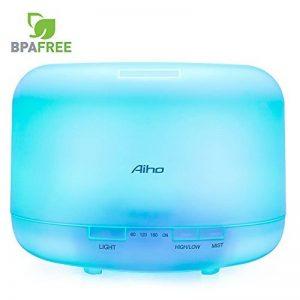 Diffuseur dhuiles essentielles APRITECH/® Diffuseur daromath/érapie portable avec 7 lumi/ères color/ées humidificateur dair arr/êt automatique du diffuseur dair sans eau