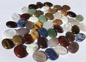 Lot de 48grandes perles semi-précieuses (Crystal King) - mix de pierres polies ovales de 18mm: aventurine verte, obsidienne acajou, obsidienne jaspe, sodalite, aventurine, jade, onyx, œil de tigre, agate, malachite turquoise, quartz, quartz rose, jaspe image 0 produit