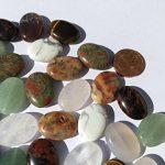 Lot de 48grandes perles semi-précieuses (Crystal King) - mix de pierres polies ovales de 18mm: aventurine verte, obsidienne acajou, obsidienne jaspe, sodalite, aventurine, jade, onyx, œil de tigre, agate, malachite turquoise, quartz, quartz rose, jaspe image 1 produit