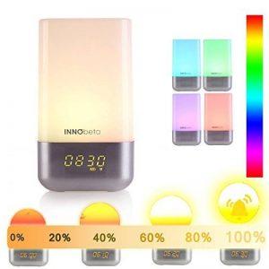 Lumière de Réveil, Eveil Lumière, simulation du lever soleil, 256 multicolore RGB LED, 5 nature sonneries de réveil, contrôle tactile, réveil lumineux, lampe de chevet, USB lampe d'ambiance -InnoBeta WakieWell de la marque InnoBeta image 0 produit