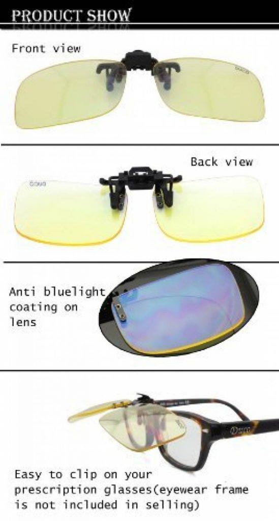 Lunettes pour jeux vidéo Duco - Lunettes pour ordinateur - à porter par  dessus des lunettes de vue - excellente protection contre la lumière bleue  des ... 84a6187b27de