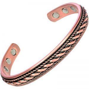 MPS® Bracelet jonc, Bracelet magnétique en cuivre, Avec six aimants--#BAC1046 de la marque MPS image 0 produit