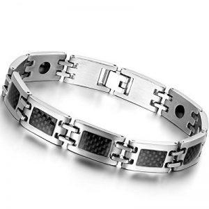 Oidea Nouveauté Bracelet Aimanté Homme Acier Inoxydable Incrustations de Fibre Carbone Noire Avec Sac Cadeau de la marque Oidea image 0 produit