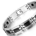 Oidea Nouveauté Bracelet Aimanté Homme Acier Inoxydable Incrustations de Fibre Carbone Noire Avec Sac Cadeau de la marque Oidea image 1 produit