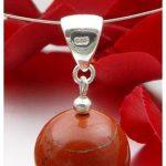 Pendentif Jaspe rouge Pierre de sang 925 pour femme-Collier argent puce de la marque Schmuck-Krone - Gemstone Jewelry image 1 produit