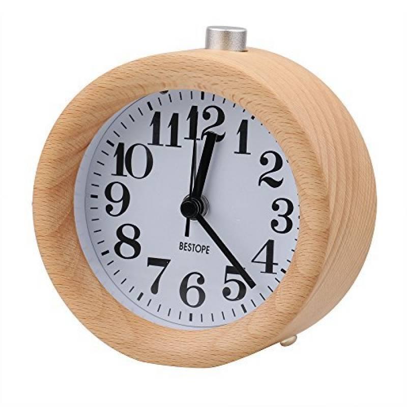 Audew R/éveil Classique Silencieux Alarme Horloge Chevet en Bois de H/être avec Veilleuse Creative Pour Home//Bureau//Chambre